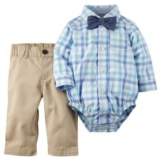 Bowties and baby boys! This 3-piece shirt & pant set comes with easy snap button-front bodysuit, pull-on khakies & bowtie! Check out our easter shop at carters.com.