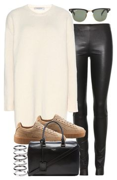 Sin título #3035 by hellomissapple on Polyvore featuring polyvore, moda, style, Valentino, The Row, Puma, Yves Saint Laurent, M.N.G and Ray-Ban