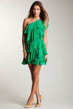 One Shoulder Tiered Dress  - great color and style!