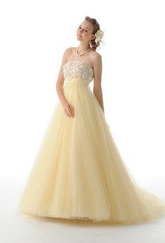 ウエディングドレス カラードレス イエロー