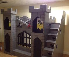 Fantasy children's themed bunk bed in knights castle theme.