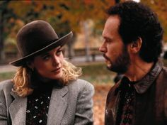 Meg Ryan and Billy Crystal, When Harry Met Sally. I like her hat :)