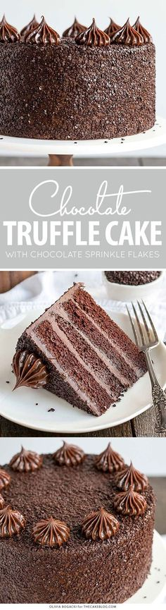 Chocolate Truffle dense, moist chocolate cake, silky chocolate truffle frosting and chocolate flakes | by Olivia Bogacki for TheCakeBlog.com
