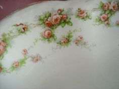 "Vintage Platter Homer Laughlin Hudson Shabby Cottage Chic Pink Rose 15"" x 11…"