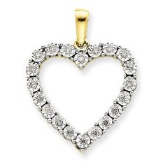 10k Two-Tone Diamond Heart Pendant