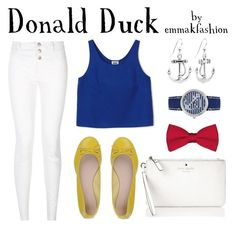 """Donald Duck Disneybound"" by emmakfashion on Polyvore featuring Sperry Top-Sider, Kate Spade, women's clothing, women, female, woman, misses, juniors, disney and disneybound"