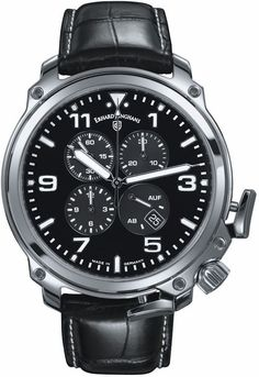Erhard Junghans Aerious Chronoscope Watch by Junghans has Stainless Steel Case, screwed down crown, sapphire crystal, leather strap, with a movement. Stainless Steel Bracelet, Stainless Steel Case, Rolex Watches, Watches For Men, Junghans, Models, 100m, Omega Watch, Gender