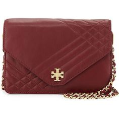 Tory Burch Kira Quilted Crossbody Bag (625 CAD) ❤ liked on Polyvore featuring bags, handbags, shoulder bags, red agate, crossbody handbags, red crossbody, red handbags and quilted crossbody