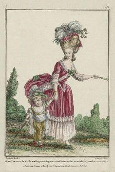 """""""Jeune Dame en robe à la Polonnoise garnie de gaze, conduisant un enfant en matelot à manches retroussées"""", Gallerie des Modes, 1780; MFA 44.1496"""