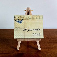 All You Need is Love Quote Mini Canvas & Easel Blue Bird Home Decor Gift Neutral - by StudioAstratta on madeit