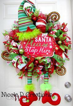 christmas wreath elf wreath holiday wreath deco mesh wreath front door wreath - Deco Mesh Christmas Wreath