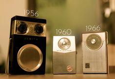 Social network, with transistor radios.