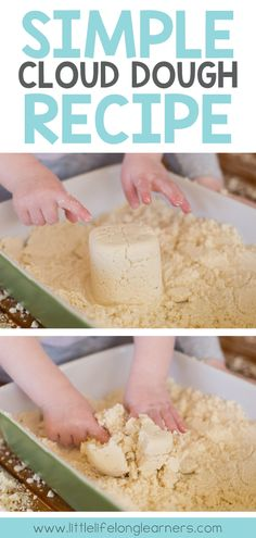 Simple cloud dough recipe for sensory play | messy play for babies and toddlers | easy play ideas | explore the 5 senses |