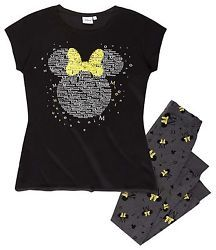 Women's Pyjamas T-Shirt Leggings Minnie Mouse black Size M 38 40