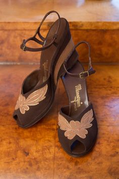 1940's Wedge Shoes // Brown Suede and Gold Studded Two Tone Wedge Heels NOS Sz 7 on Etsy, $165.00