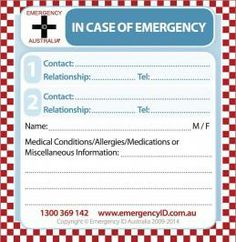 Emergency Contact Stickers - Small - 1 Person