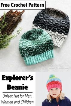 This easy crochet beanie is made with Lion Brand Mandala Ombré yarn or your favorite Category 4 worsted weight yarn. The subtle texture and classic beanie shape make it an ideal unisex beanie for men or women; boys or girls. Keep reading for the free crochet pattern.
