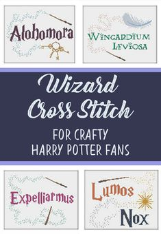 Harry Potter cross stitch patterns | instant download | wizard spells | hogwarts students | alohomora, wingardium leviosa, lumos / nox, expelliarmus | easy craft project for harry potter fans | rustic handmade home decor | harry potter gift idea | #affiliate