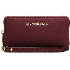 MICHAEL Michael Kors Jet Set Travel Saffiano Multifunction Tech... ($98) ❤ liked on Polyvore featuring bags, wallets, accessories, merlot, credit card holder wallet, zip top bag, red bag, travel wallet and wristlet cell phone wallet