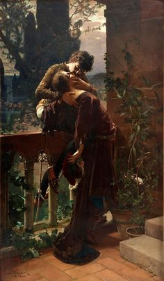 Painting is Poetry - Julius Kronberg, Romeo and Juliet on the Balcony. Romantic Paintings, Classic Paintings, Beautiful Paintings, Art Paintings, Art Amour, Art Ancien, Pre Raphaelite, Classical Art, Renaissance Art