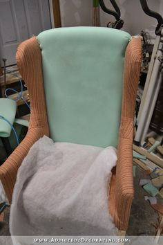 DIY wingback dining chair - how to upholster the frame - 57