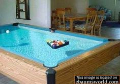 A POOL table! 32 Things You Need In Your Man Cave: a pool table that is also a pool Billard Design, Crazy Pool, Woman Cave, My Dream Home, Future House, Swimming Pools, Sweet Home, House Design, Interior Design