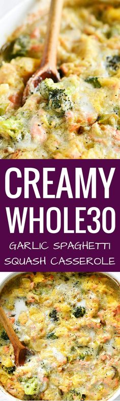 Extra creamy whole30 spaghetti squash casserole. Dinner cooked in 20 minutes! Easy, healthy, and delicious! New favorite meal to eat with the family. You can make it ahead, free or refrigerate, and then cook up another time. Whole30 meal planning. Spaghetti squash casserole filled with broccoli, garlic, onion, salmon, and herby cream sauce! How to cook spaghetti squash. Healthy spaghetti squash bake. Easy whole30 dinner recipes. Whole30 recipes. Whole30 lunch. Whole30 recipes just...