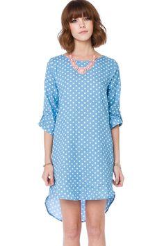 ShopSosie Style : Polka Dot Chambray Shift Dress