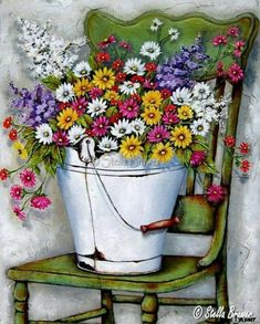 Art by Stella Bruwer white enamel bucket summer flowers on bright green chair Tole Painting, Painting & Drawing, Watercolor Paintings, Art Floral, Pinterest Arte, Country Paintings, Country Art, Whimsical Art, Pretty Pictures