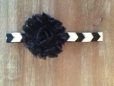 Black Chevron Baby Headband Black and Gold by Thelittlearrowshop