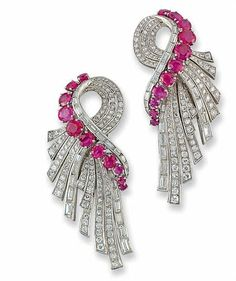 A PAIR OF ART DECO RUBY AND DIAMOND CLIP BROOCHES, Christie's Auctions.