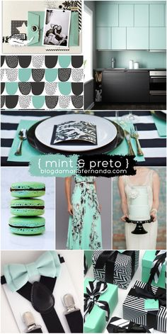 Paleta de Cores Decoração de Casamento Mint and Preto   Wedding Color Palette Inspiration Board Mint and Black http://marionstclaire.com/paleta-de-cores-mint-preto