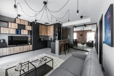 This industrial modern apartment was designed in 2017 by Aida Šniraitė—owner of design studio Authentic Interior. Industrial Apartment, Industrial Bedroom, Industrial House, Industrial Interiors, Modern Industrial, Industrial Furniture, Industrial Shelving, Industrial Windows, Industrial Design
