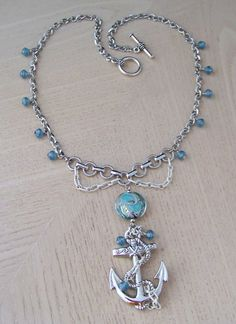 GET YOUR NAUTICAL ON! Handmade, nautical necklace by Tresa. Sail through your day wearing an anchor pendant necklace, with an amazing blue art glass focal bead adorned with various silver & white chain. via Etsy. I Love Jewelry, Beach Jewelry, Jewelry Art, Vintage Jewelry, Jewelry Making, Chain Jewelry, Unique Jewelry, Jewelry Ideas, Nautical Necklace