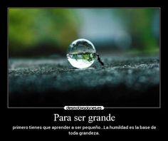 Para ser grande: primero tienes que aprender a ser pequeño...La humildad es la base de toda grandeza.