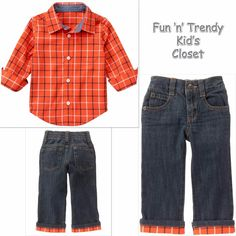 NWT Gymboree HAPPY HARVEST Boys Size 4T 5T Plaid Shirt & Cuff Jeans 2-PC OUTFIT #Gymboree #HolidayThanksgivingCasual