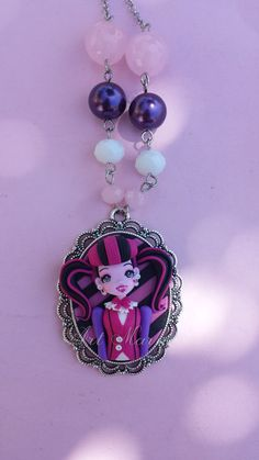 Necklace draculaura in fimo polymer clay by Artmary2 on Etsy