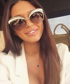 No Frame Rimless Hot Cat Eye Sunglasses Women Fashion Designer Eyewear 2017 - Runway fashion - Cute Sunglasses, Cat Eye Sunglasses, Sunnies, Sunglasses Women Designer, Model Street Style, Milan Fashion Weeks, London Fashion, Only Fashion, Classy Fashion