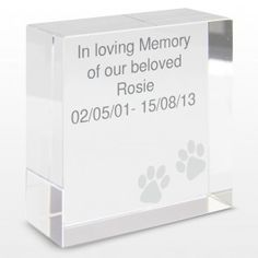 Personalised Paws Medium Crystal Token :: Remember a dear friend with a wonderful keepsake - Fast UK Delivery. Gifts For Pet Lovers, Pet Gifts, In Loving Memory Gifts, Pet Corner, Cat Memorial, Pet Supplies, Personalized Gifts, Memories, Crystals