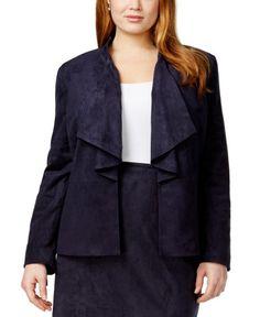 Tahari ASL Women's Plus Size Faux Suede Ruffled Jacket (20W, Navy Beauty)