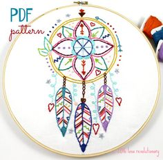 El cazador de sueños mano bordado PDF patrón Boho Indian Summer                                                                                                                                                                                 Más