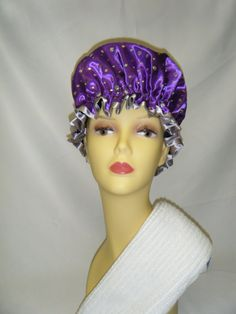 Handmade Quality Waterproof Shower Cap Soft Waterproof Lining Purple Sequinned Satin Finished with a Sliver Satin Edge Gift Wrapped Hand Wash Only Shower Cap, All Things Purple, Satin Finish, Favorite Color, Gifts, Handmade, Ideas, Fashion, Moda
