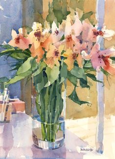 I felt I owed it to these flowers to paint them again. Last week when I posted them on Flickr I called them Freesias! I guess people were too polite to tell me, or no one knows the difference, but ...
