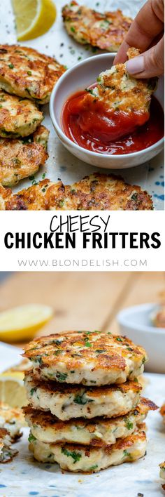 This cheesy chicken fritters recipe takes just 30 minutes to make. How to make chicken fritters, an easy, healthy and super delicious Keto recipe. Chicken Fritters Recipe, Recipe Chicken, Salad Chicken, Cheesy Chicken, Thai Chicken, Thanksgiving Appetizers, Eat Pizza, Best Chicken Recipes, Keto Recipes
