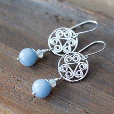 Pastel Blue Angelite Earrings, sterling silver