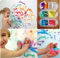 Vamos fazer pintura em relevo para as crianças brincar no banho?      INGREDIENTES:   1 xícara de sabonete infantil ralado   1/2 colher de...