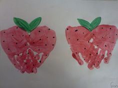 Handprint strawberries. Preschool and toddler art.