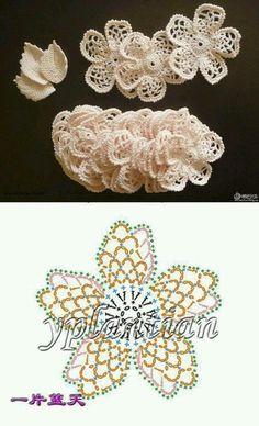 Flor a crochet Crochet Fish, Freeform Crochet, Diy Crochet, Crochet Motif, Crochet Doilies, Crochet Borders, Crochet Stitches, Dentelle Au Crochet, Fleur Crochet