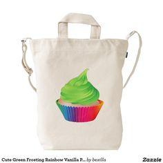 Cute Green Frosting Rainbow Vanilla Party Cupcake Baggu Duck Bags