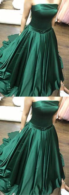 Elegant Prom Dress,Green Prom Dresses Long Strapless Evening Party Gowns H0136 #modestpromdress #newpromdress #2018fashions #newstyles #aline #greenpromdress #strapless